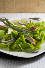 Fresh greens salad with brie cheese