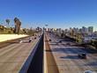 Freeway with plane landing, Downtown San Diego, California, USA