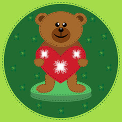 Brown bear with heart. Valentine's day.