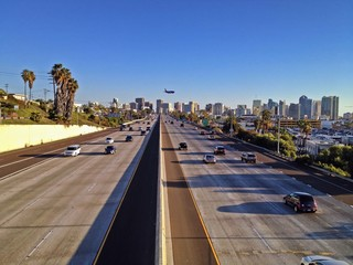 Freeway with plane landing, Downtown San Diego, California, USA