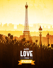 Vector vintage poster with views of Paris