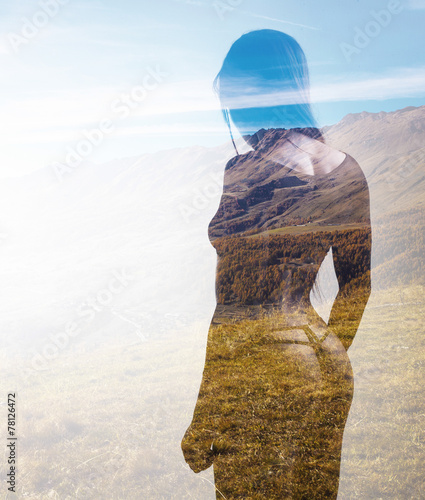 Double exposure of beautiful model and autumn landscape - 78126472