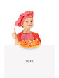Funny little girl holding pizza and white blank slate