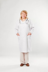 Senior doctor woman with stethoscope.