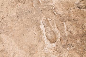 Footprints on frozen ground
