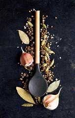 Spices with wooden spoon on a dark vintage background