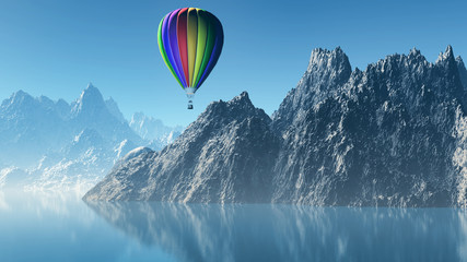 3D landscape with hot air balloon and mountains