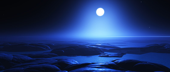 3D fantasy night landscape with moon
