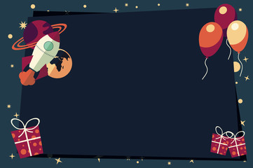 Banners with balloons, presents, rocket ship and planets