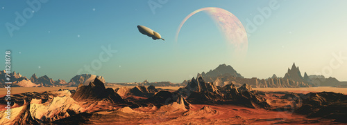 canvas print picture 3D fictional space scene