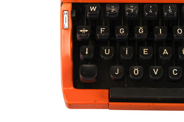 The Orange Vintage Typewriter on the White Background