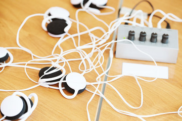 In-ear headphones are on the table