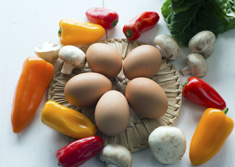 Eggs ,peppers and  mushrooms- set of products
