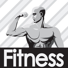 Fitness gym logo mockup grey  bodybuilder showing biceps