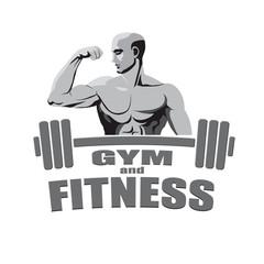 Fitness gym logo mockup bodybuilder showing biceps isolated