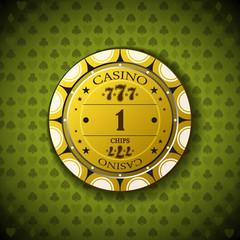 Poker chip nominal one, on card symbol background