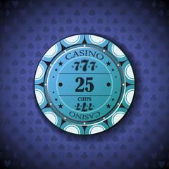 Poker chip nominal twenty five, on card symbol background