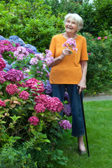 Thoughtful Old Woman at Garden Holding Flowers.