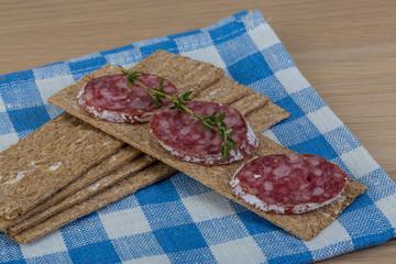 Crispbread with salami