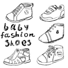 Baby fashion shoes set sketch handdrawn isolated on white