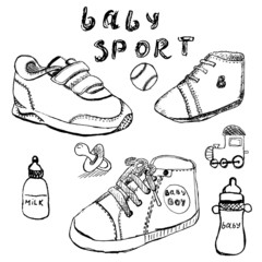 Baby shoes set sketch handdrawn isolated on white