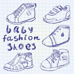 Baby fashion shoes set sketch handdrawn on notebook paper