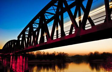 Train on the Bridge at Sunset, Cremona, Italy