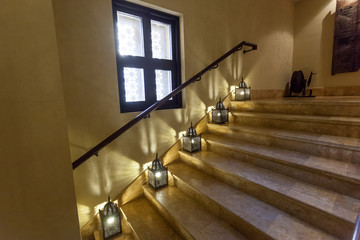 Staircasae with oriental lamps