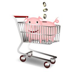 Carro de la compra con cerdito ahorrador
