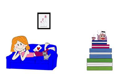 Chica tumbada en el sofá con su gato.