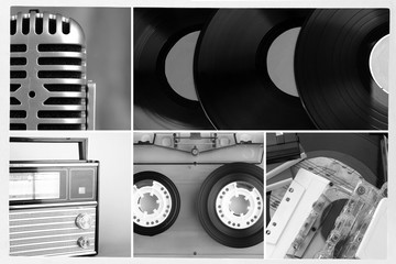 Vinyl records, audio cassettes, microphone and radio set in
