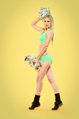 blonde cheerleader with pompoms