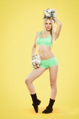blonde cheerleader with pompoms