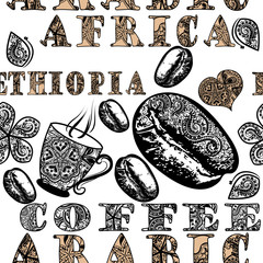 Coffee seamless pattern with ethnic African ornament, coffee gra