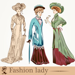 Collection of vector fashion ladies wearied in old-fashioned clo