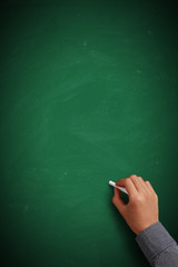 Hand writing on blank green chalkboard