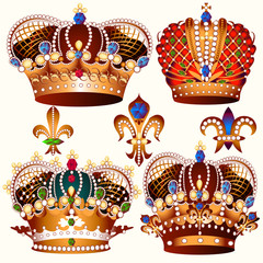 Heraldic collection of vector colored crowns decorated by stones