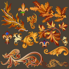 Heraldic collection of vector golden decorative swirls for desig