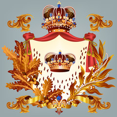 Heraldic design with crown and coat of arms