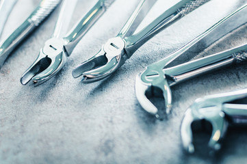 Lower Premolars Forceps dental tools arranged on the table
