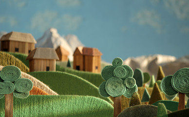 Countryside - alpine landscape made of wool