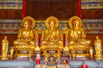 NONTHABURI, THAILAND - December 27: Buddha statues Wat Borom Rac