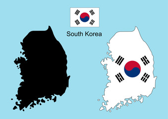 South Korea map, South Korea flag