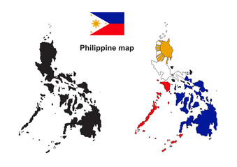 Philippine map, Philippine flag vector