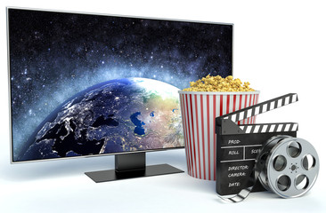 cinema clapper, popcorn and TV. 3d image