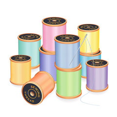 Needle, Pastel Threads, sewing, tailor, quilt, embroidery, DIY
