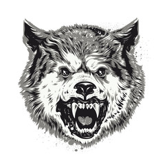 Wolf head grunge vector art.