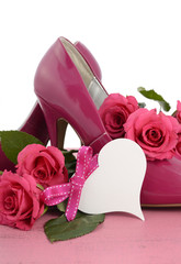 adies pink high heel stiletto shoes and roses