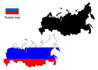Russia map vector, Russia flag vector