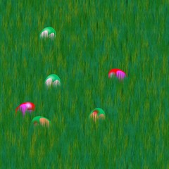 Easter eggs in grass lawn - computer generated pattern